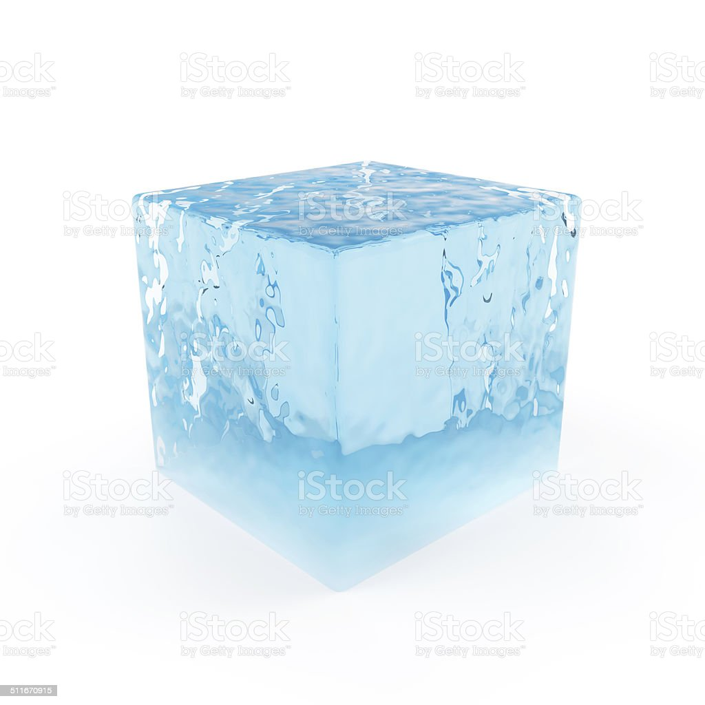 Abstract Water Cube Isolated on white background stock photo