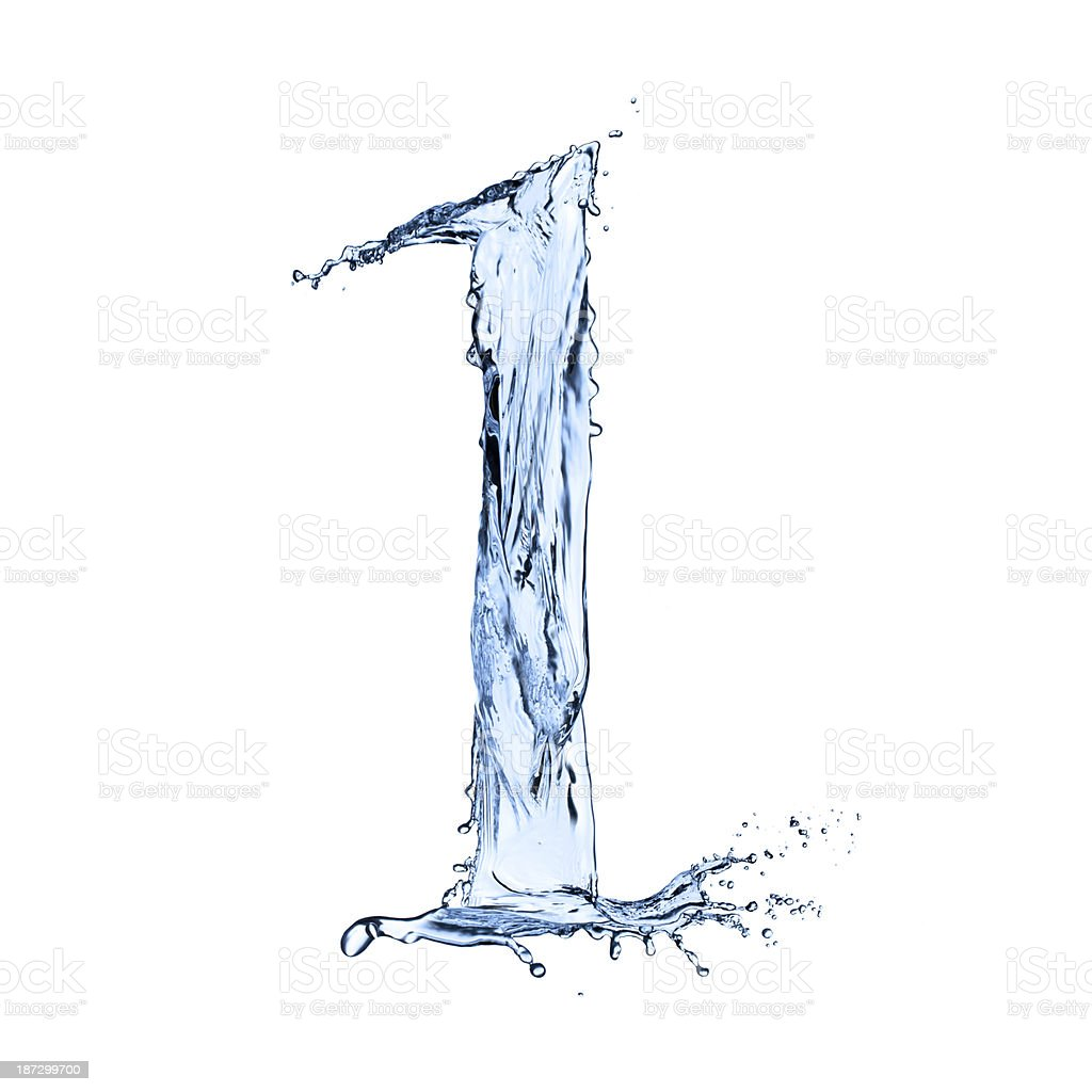 Abstract water splashes number design stock photo