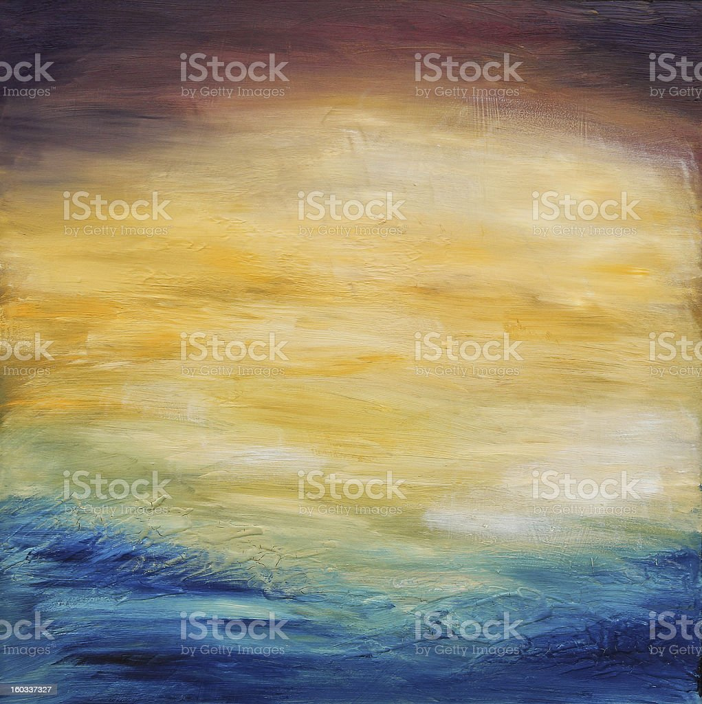 Abstract water sunset. Oil painting on canvas. stock photo