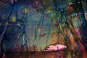 abstract watercolor dark painting background