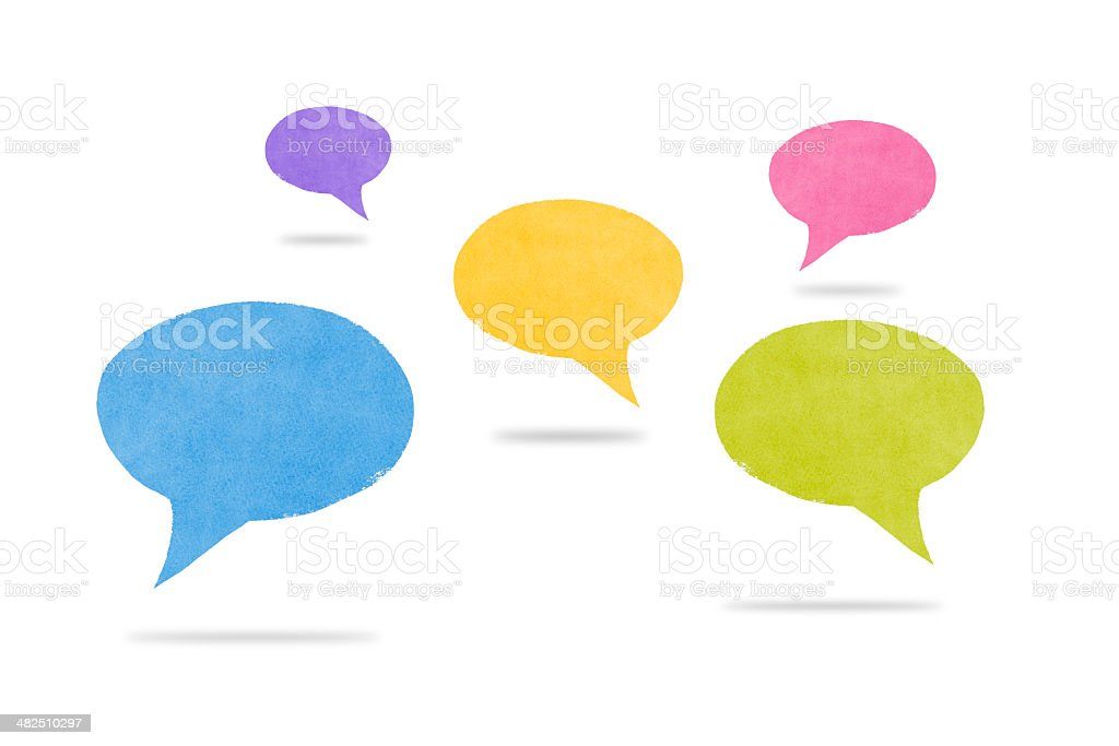 Abstract Watercolor Hovering Speech Bubbles with Shadows royalty-free stock photo