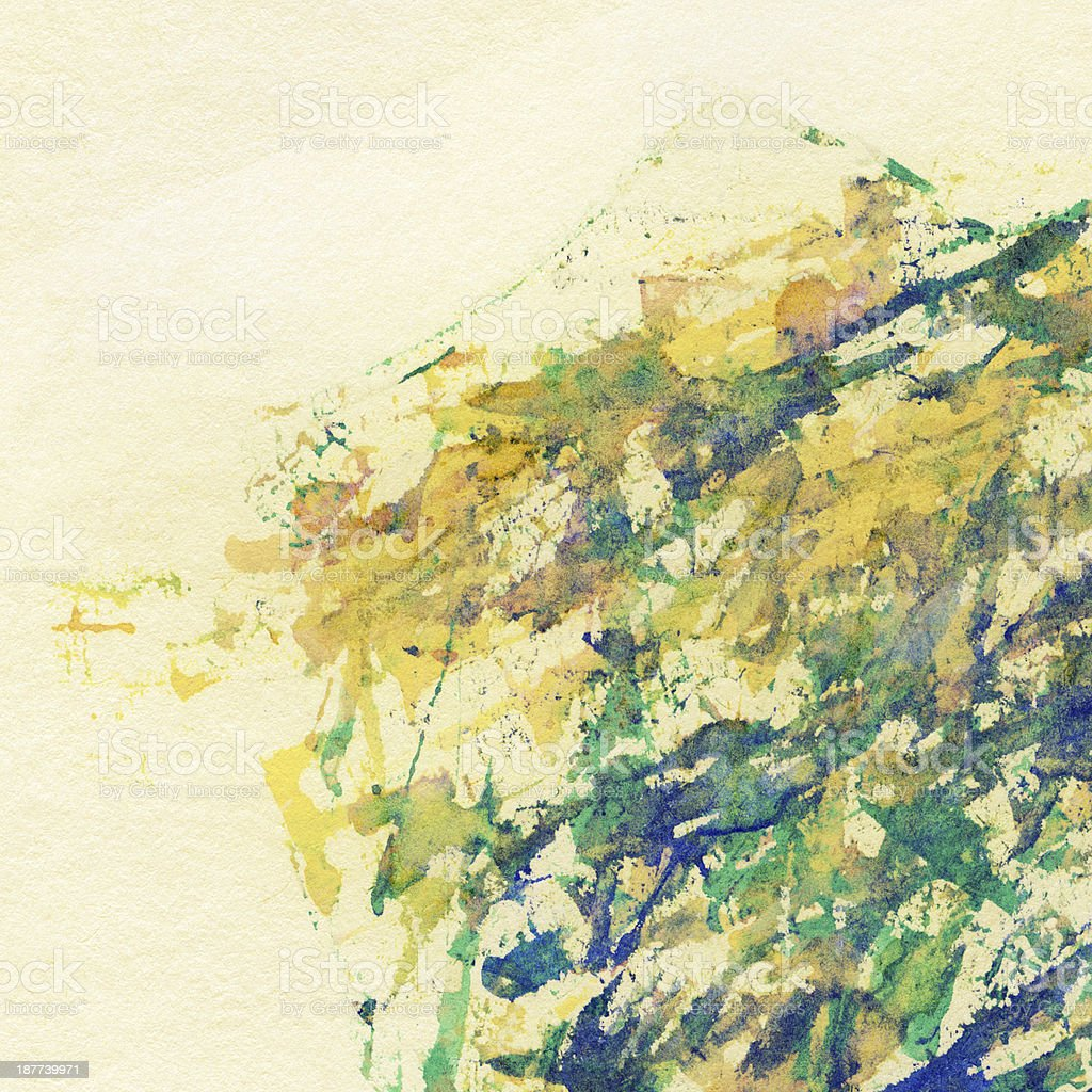 Abstract watercolor, ink brush strokes, splashes background stock photo