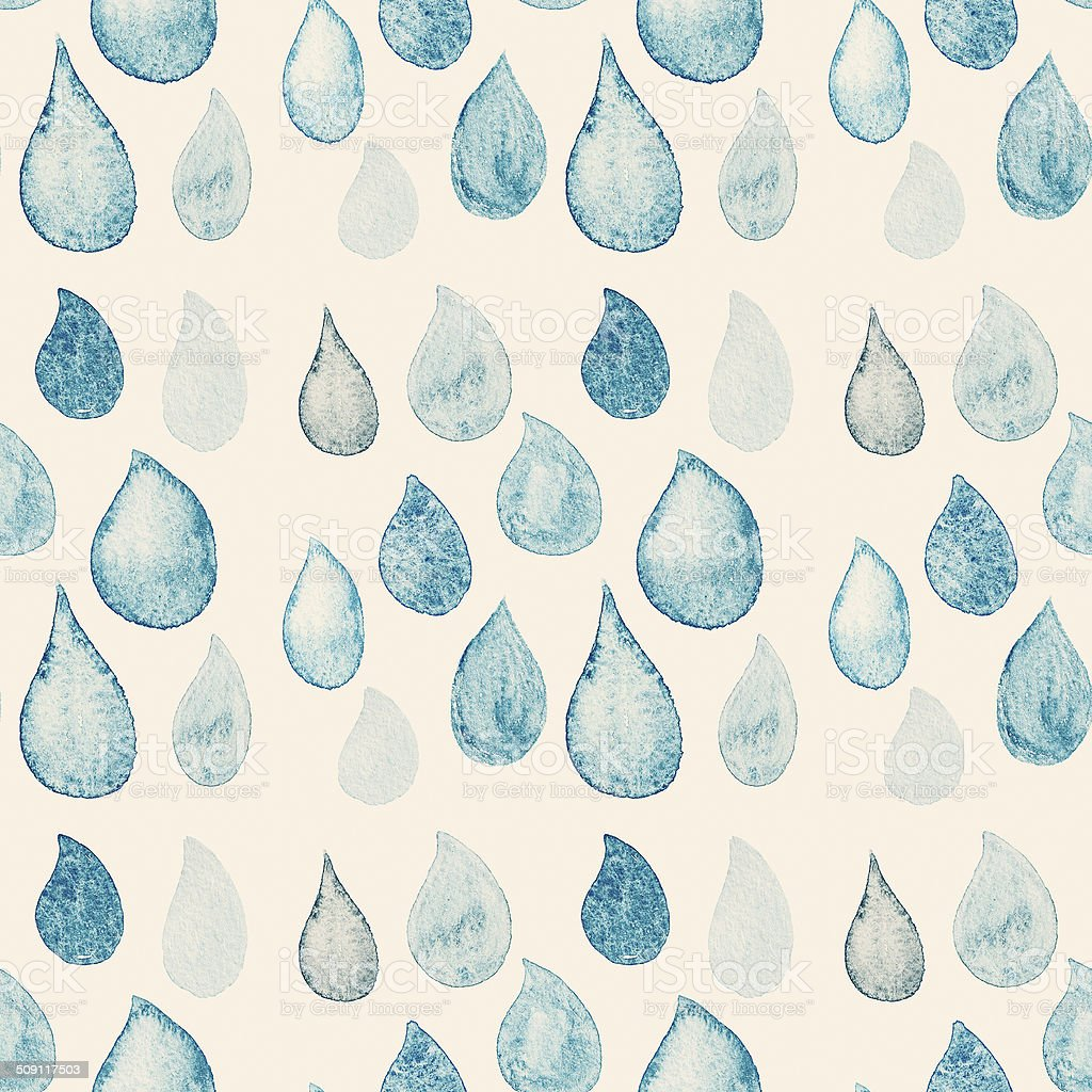 Abstract Watercolor seamless pattern with rain drops blue stock photo