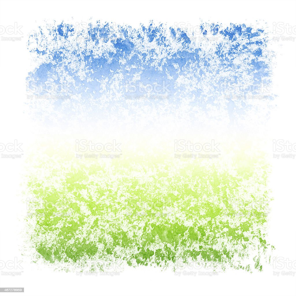 Abstract Watercolor Sky and Grass Square Textured Frame stock photo