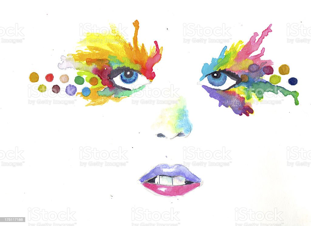 Abstract Watercolor Woman Face royalty-free stock photo