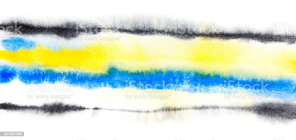 Abstract  watercolor yellow blue black background stock photo