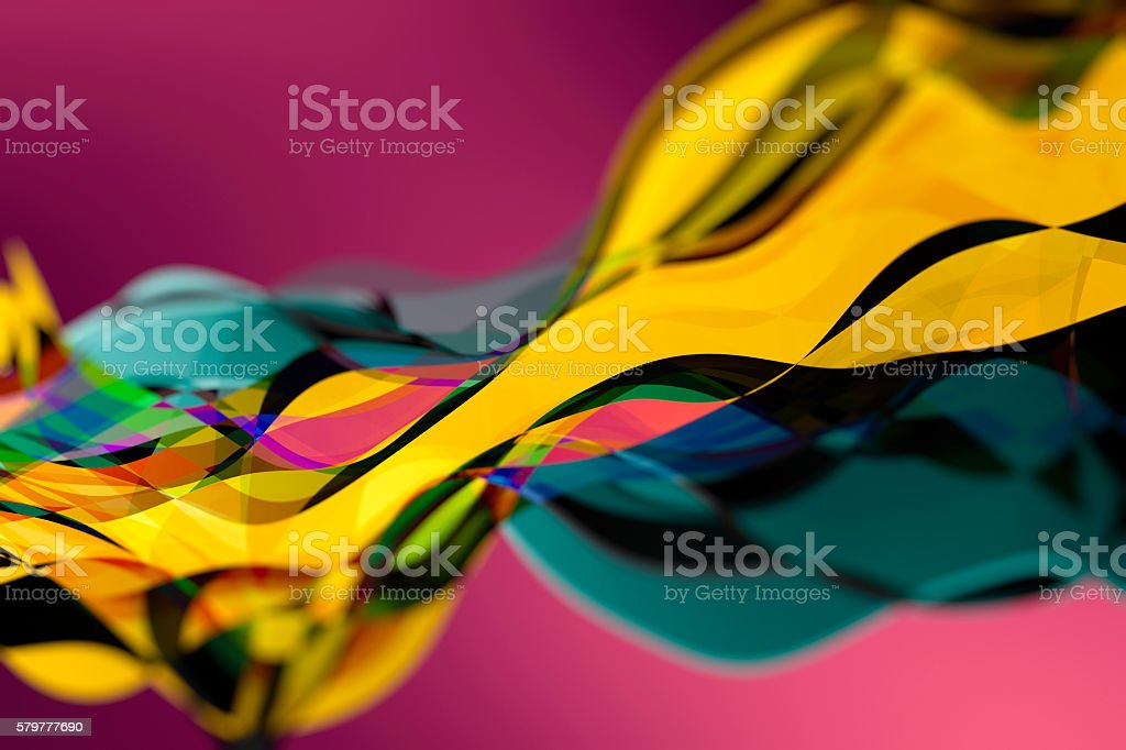 Abstract waves in saturated colours stock photo