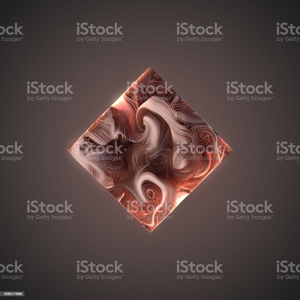 Abstract weave pink lines in the form of cube. 3D stock photo