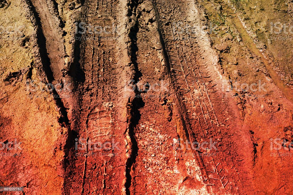 abstract wheel trail, dry soil, sweet dreamy stock photo