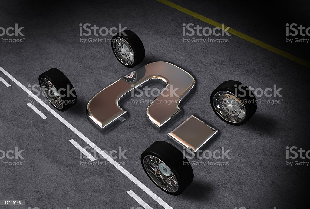 Abstract wheels with metal question mark stock photo