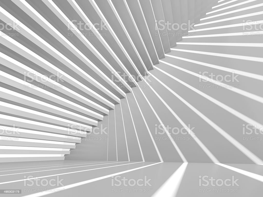 Abstract white 3d interior background with staircase stock photo