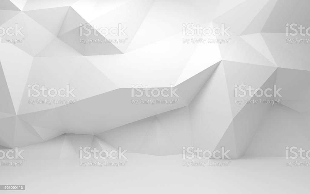 Abstract white 3d interior with polygonal pattern on the wall stock photo