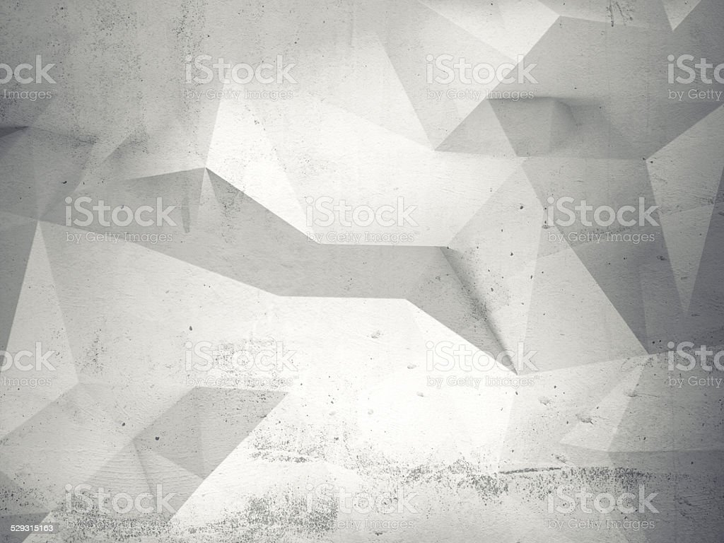 Abstract white 3d interior with polygonal pattern on wall vector art illustration