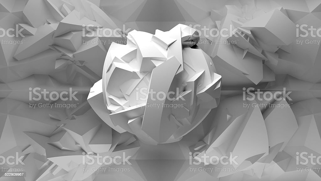 Abstract white 3d object, inside of polygonal interior stock photo