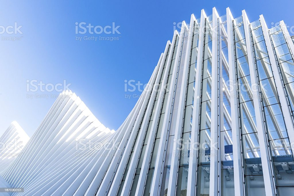 Abstract White Architecture Building on Clear Blue Sky royalty-free stock photo