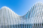 Abstract White Architecture Building on Clear Blue Sky