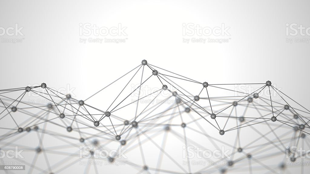 Abstract white background with connecting dots stock photo