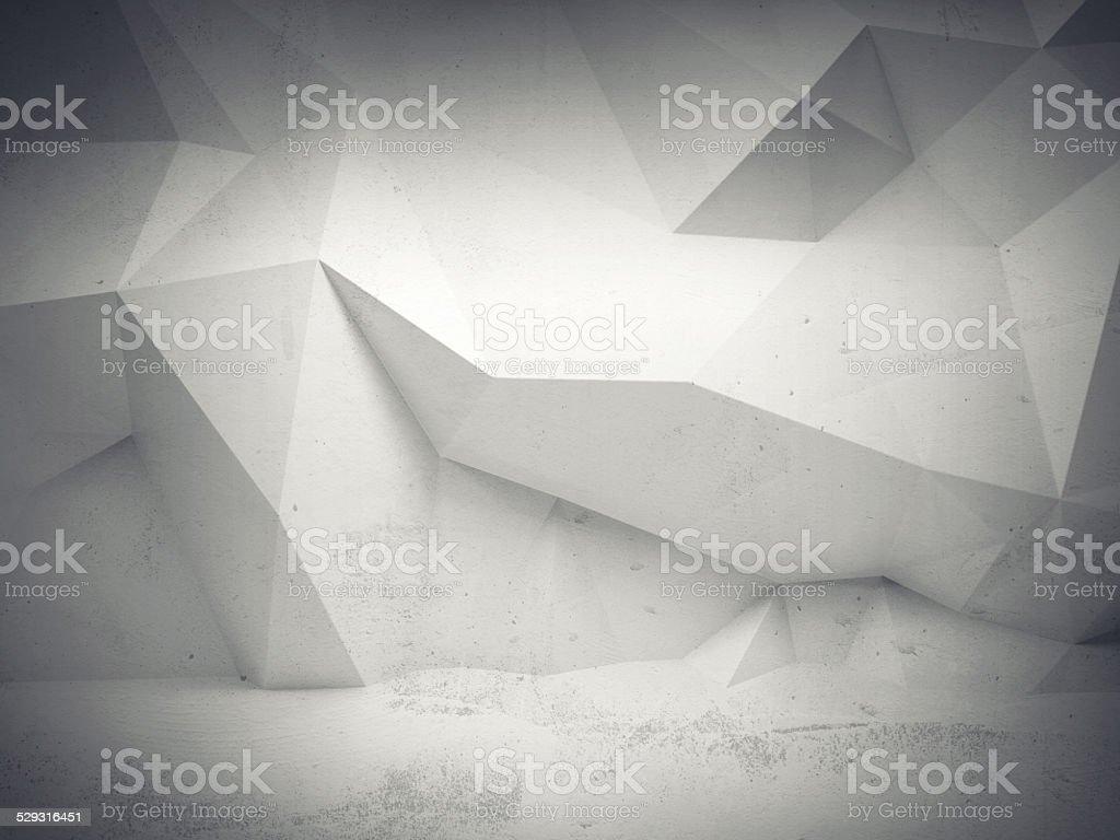 Abstract white concrete 3d interior with polygonal pattern stock photo