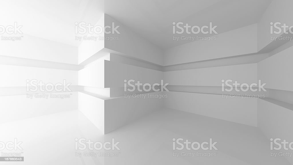 Abstract white empty room interior with. 3d render illustration stock photo