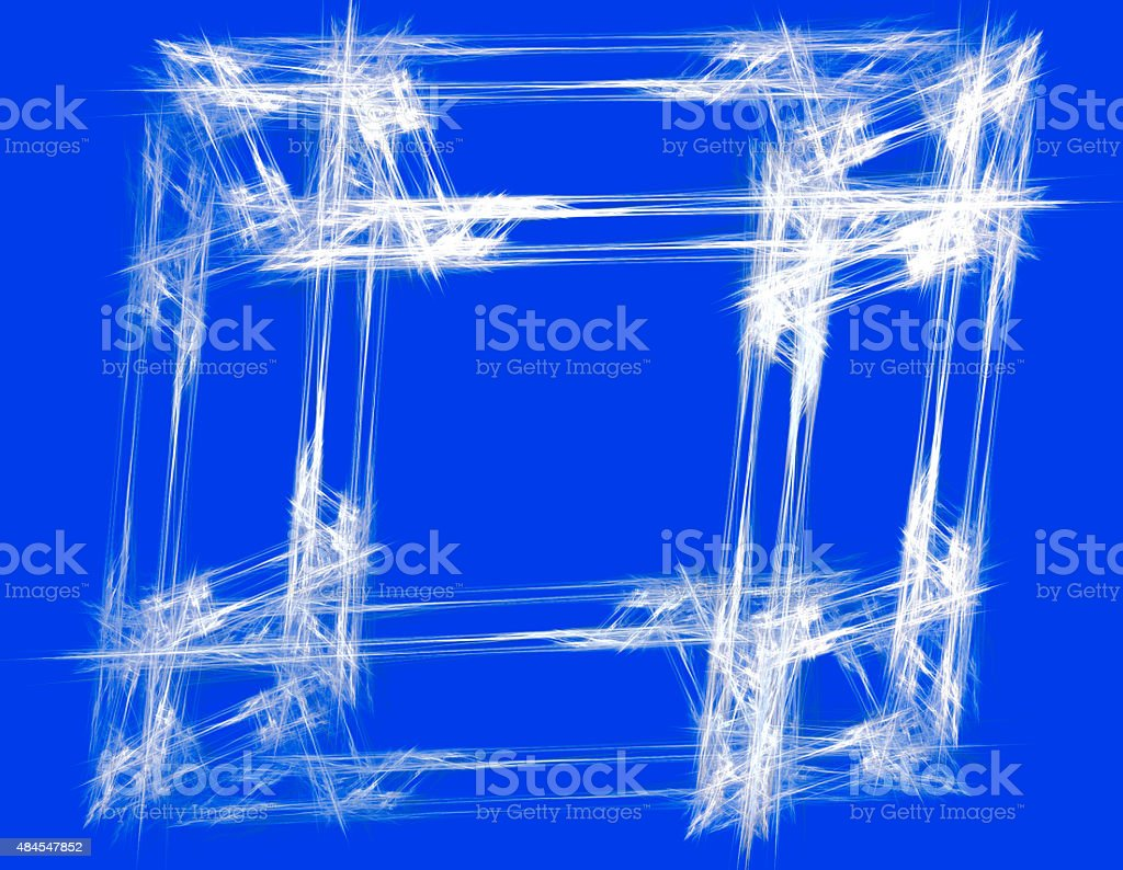 Abstract white frame with blue background stock photo