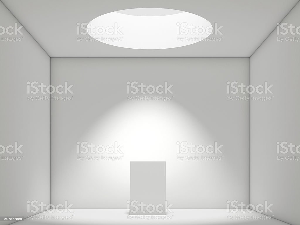 Abstract white Interior with pedestal stock photo
