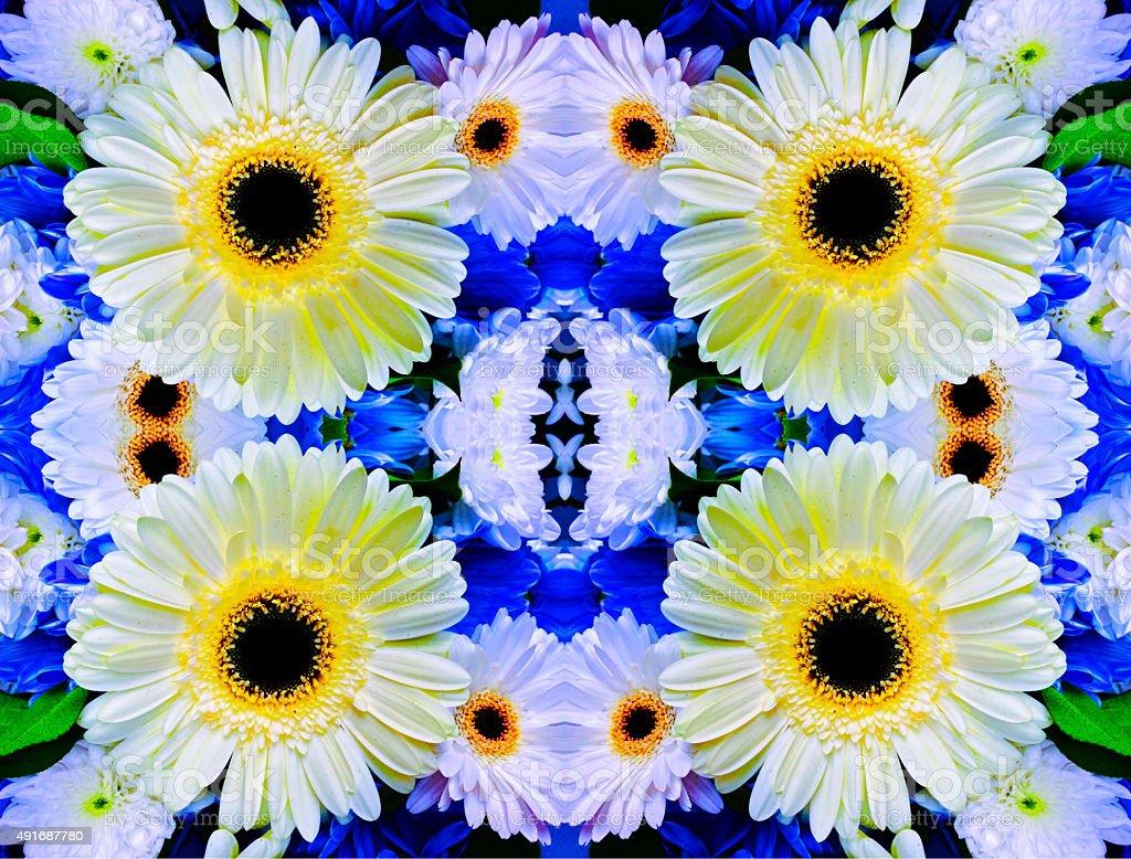Abstract white mum flower kaleidoscope pattern royalty-free stock photo