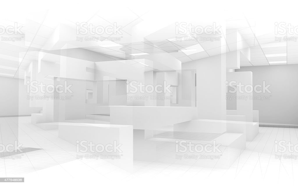 Abstract white office interior background 3d stock photo