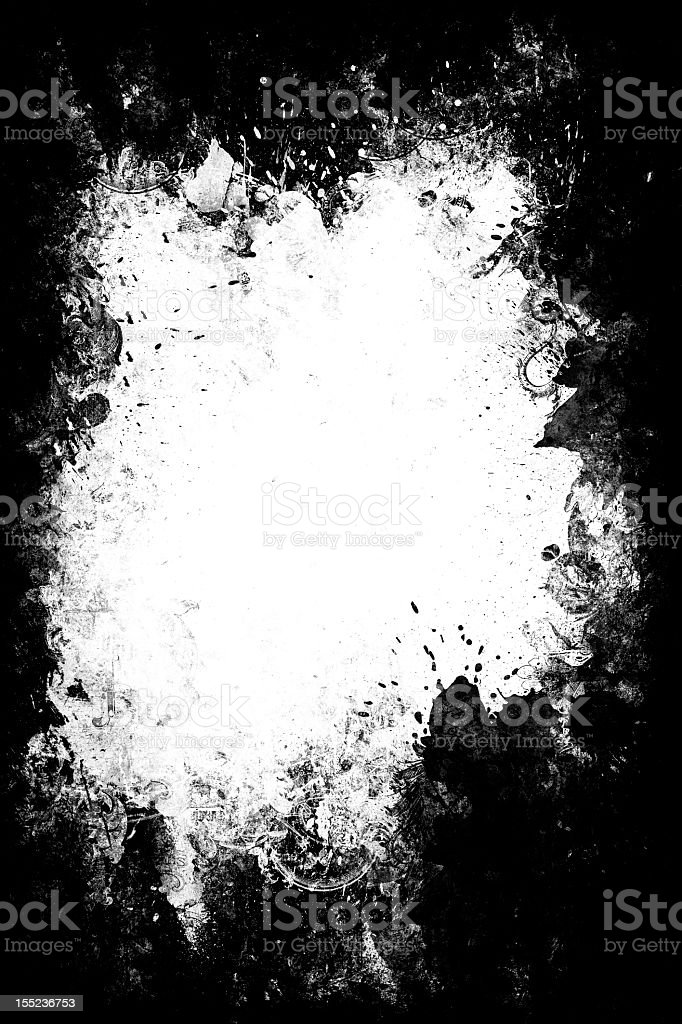 Abstract white paint splatter over black background stock photo