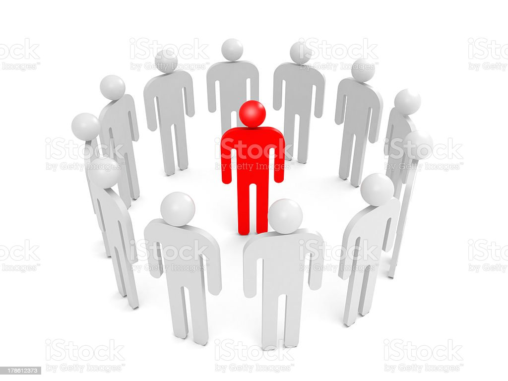 Abstract white people stand in ring with one red person royalty-free stock photo
