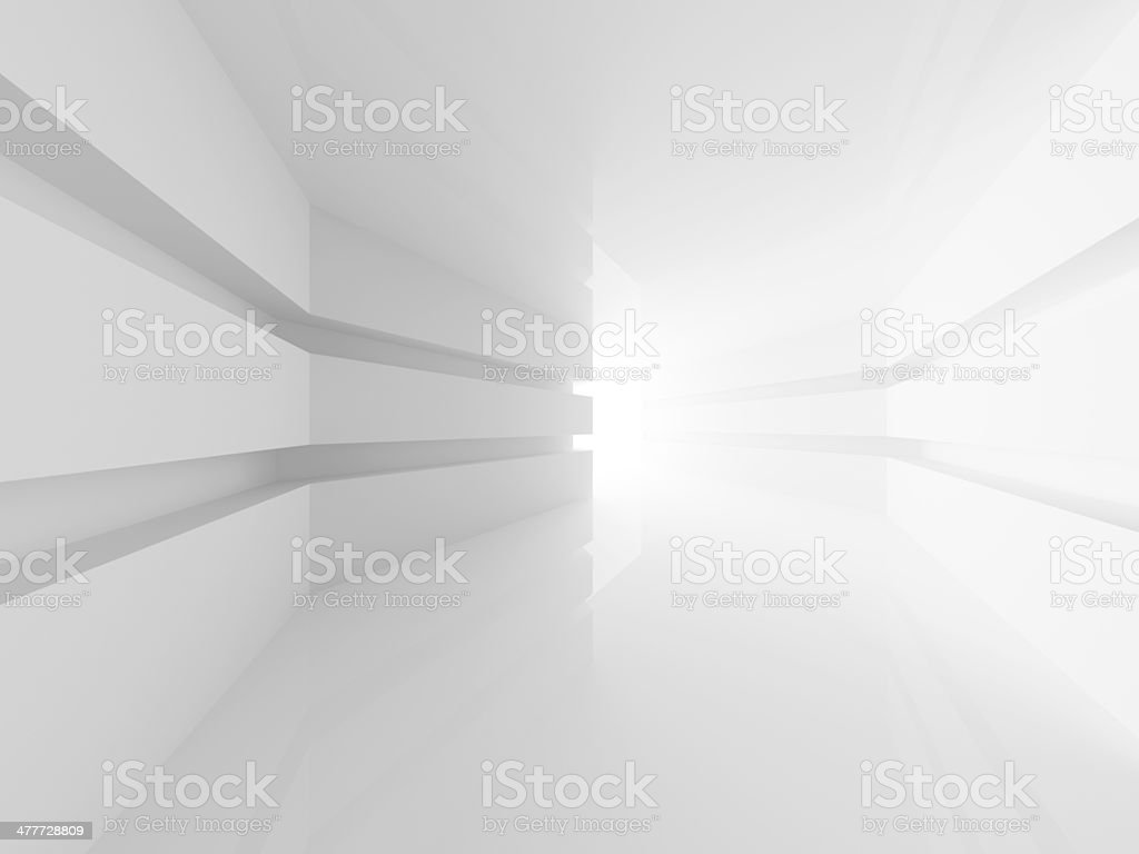 Abstract white room interior with glowing doorway. 3d render stock photo