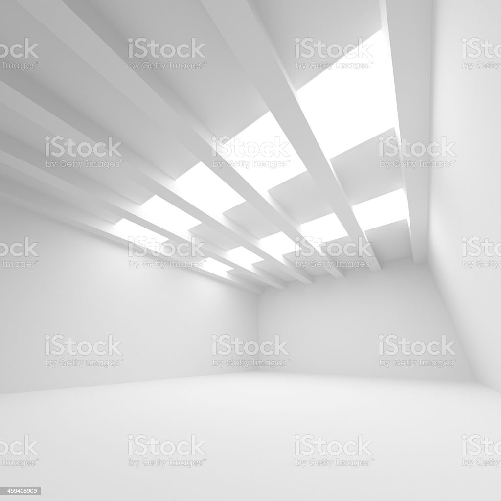 Abstract white room with unique architecture stock photo