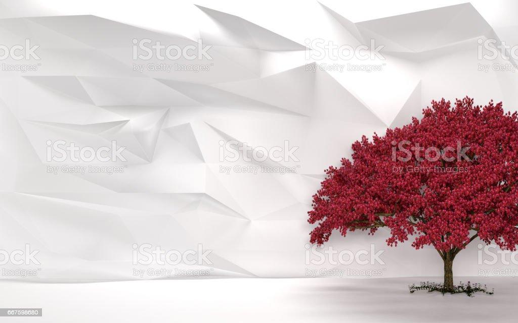 Abstract White Wall Cherry Tree stock photo