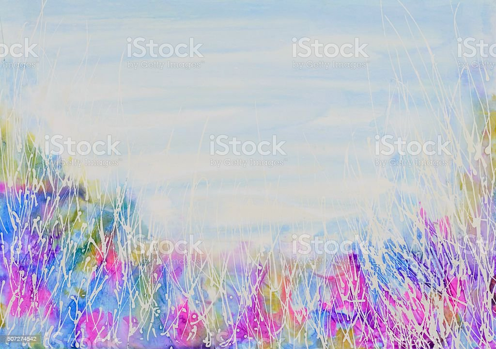 Abstract wild weeds and sky background. stock photo