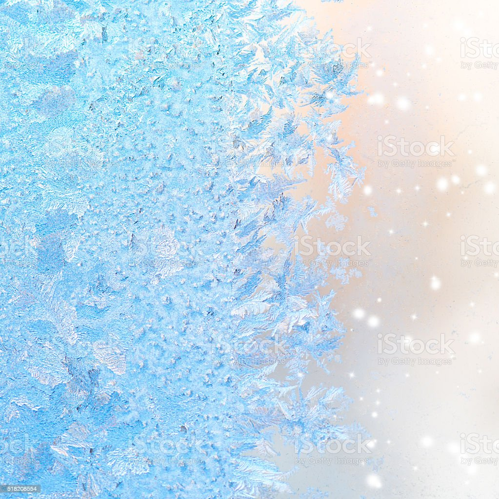 abstract winter ice patterns on window, Christmas background, cl stock photo