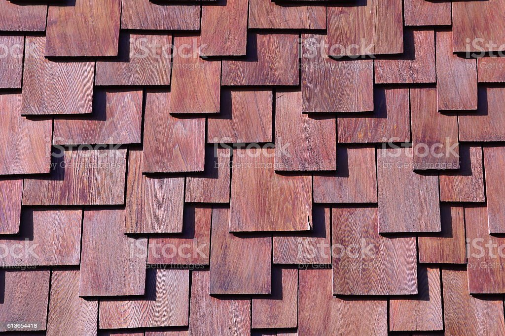 Abstract wood design.Wood shingles. stock photo