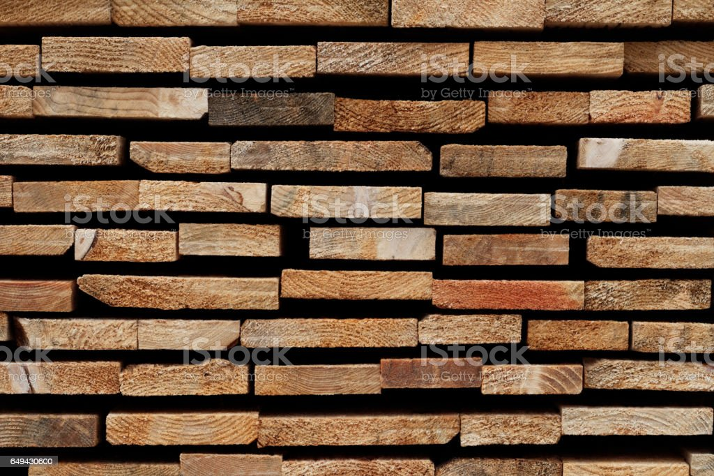Abstract Wooden Background: Stacked Cross-Sections of Different Softwood Slats – Foto