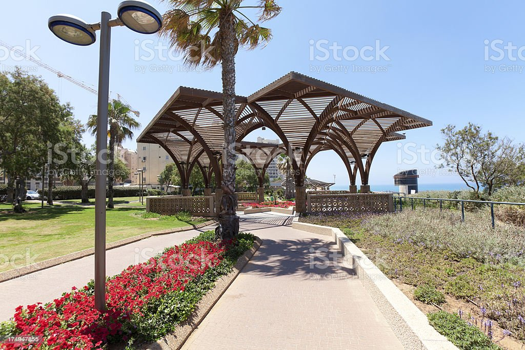 Abstract Wooden Structure in Netanya, Israel stock photo