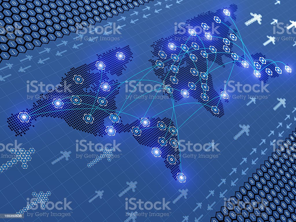 Abstract World Cell Map royalty-free stock photo
