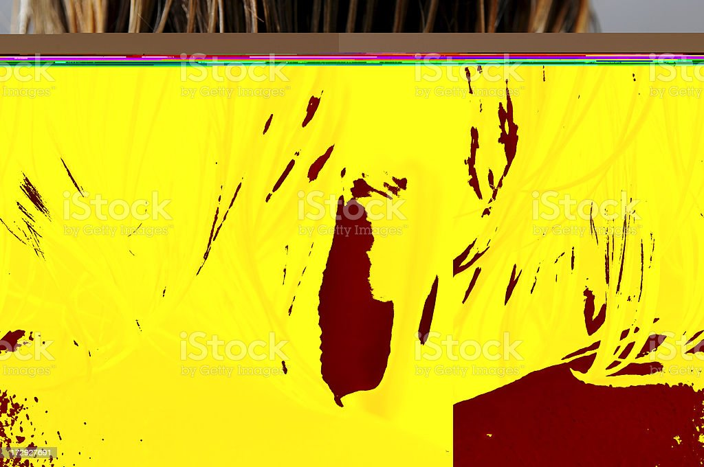 Abstract yellow and burgundy brushstrokes stock photo