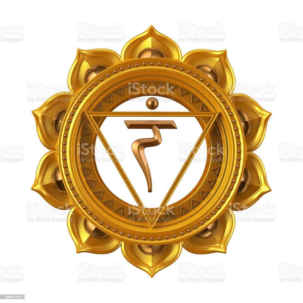 abstract yellow Manipura chakra symbol, 3d modern illustration stock photo