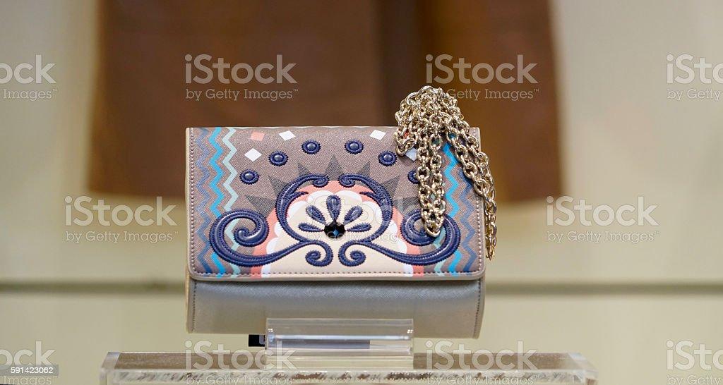 abstractly colored handbag stock photo