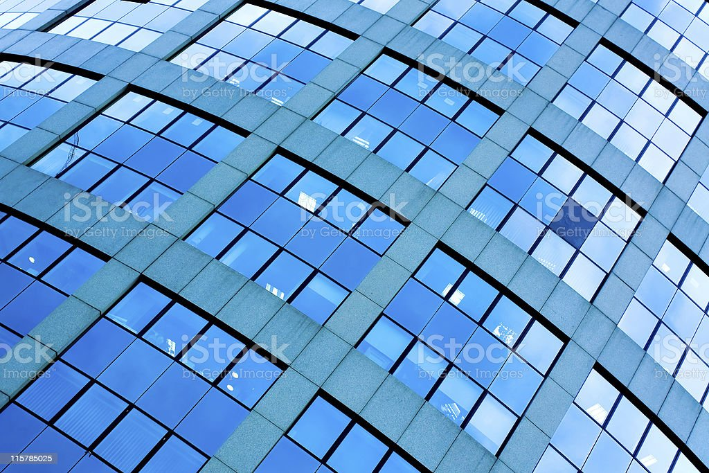 abstrct crop of blue skyscrapers royalty-free stock photo