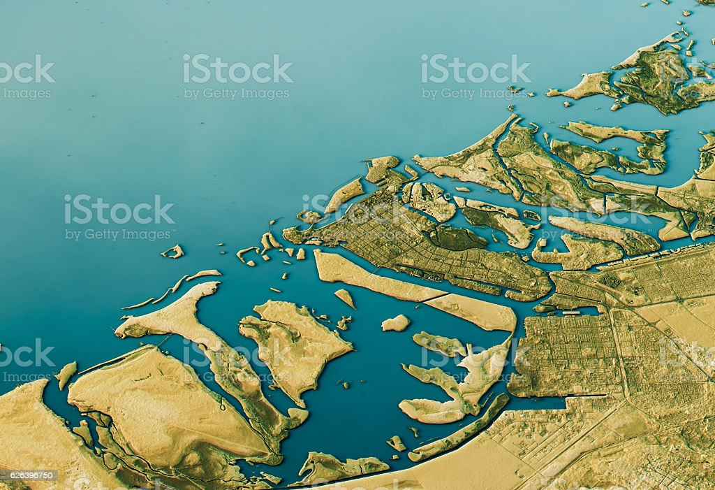 Abu Dhabi 3D Landscape View South-North Natural Color stock photo