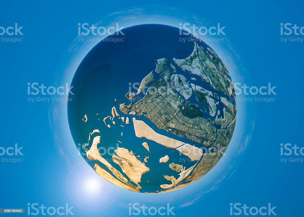 Abu Dhabi 3D Little Planet 360-Degree Sphere Panorama stock photo
