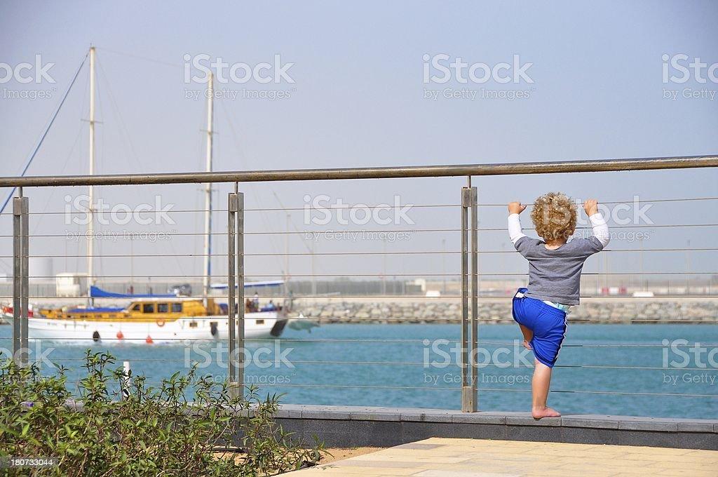 Abu Dhabi, A young boy at Al Zeina royalty-free stock photo