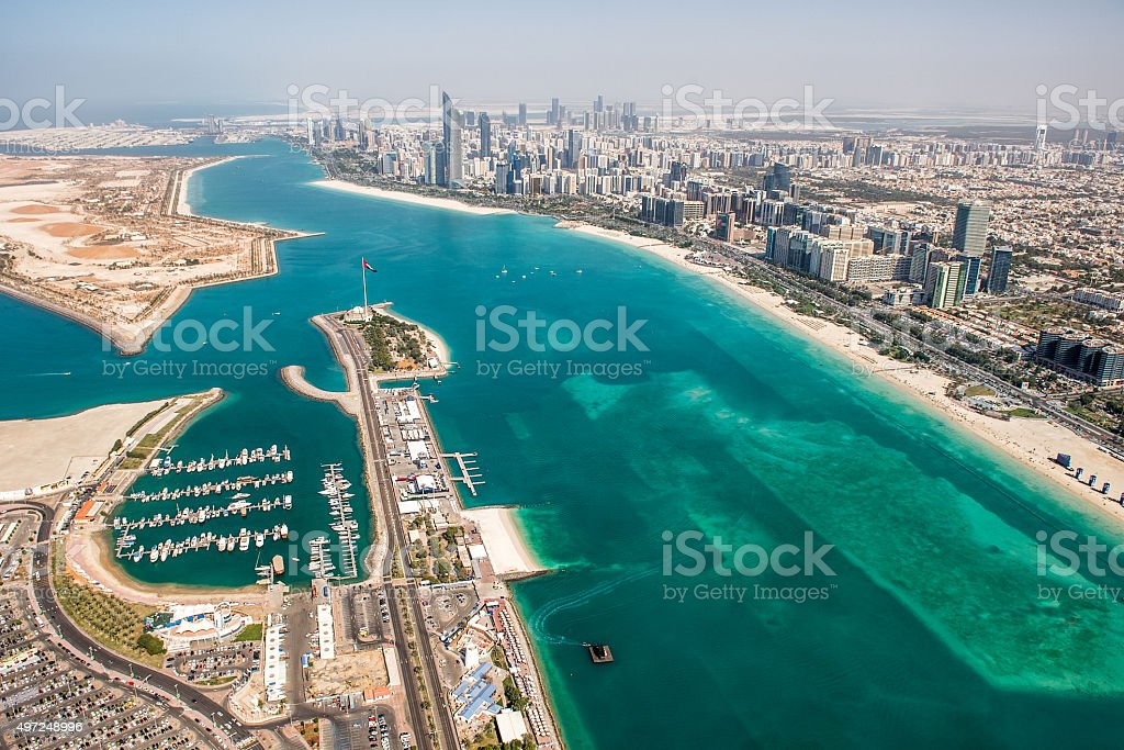 Abu Dhabi area viewed from the air stock photo