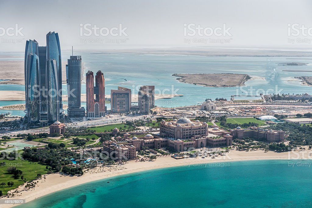 Abu Dhabi area viewed from the helicopter stock photo