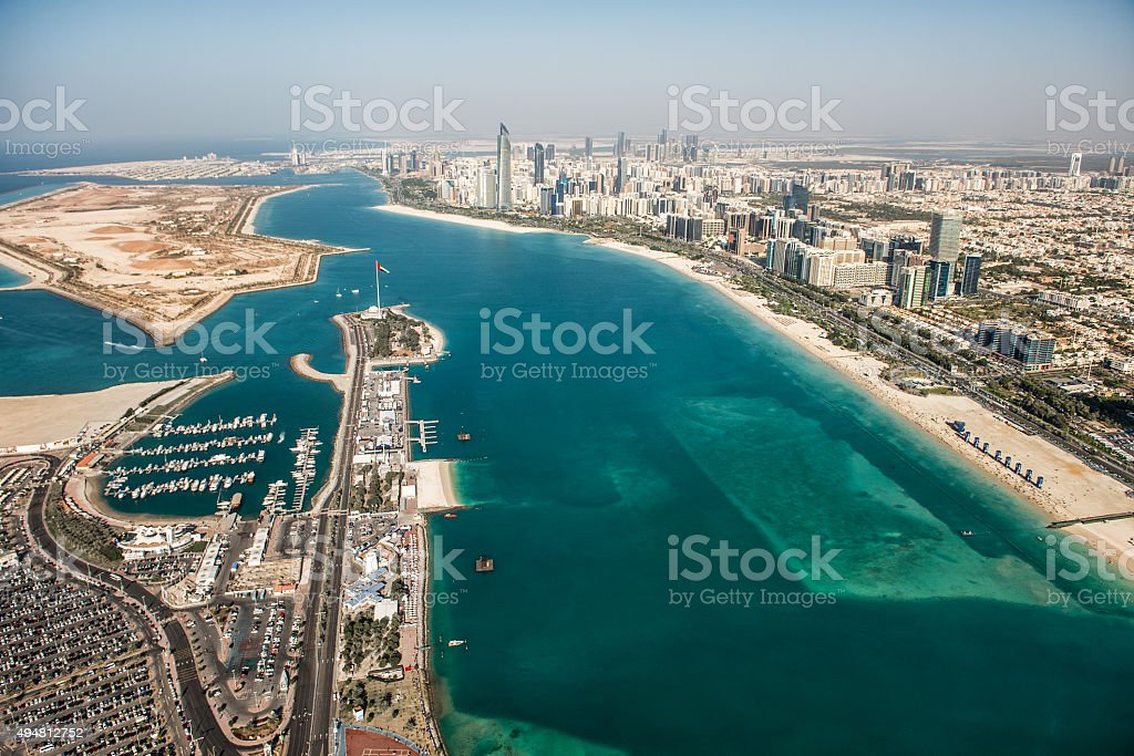 Abu Dhabi from the air stock photo