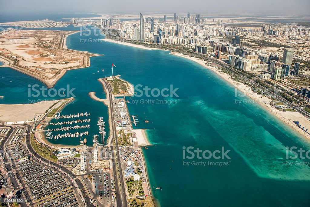 Abu Dhabi from the helicopter stock photo