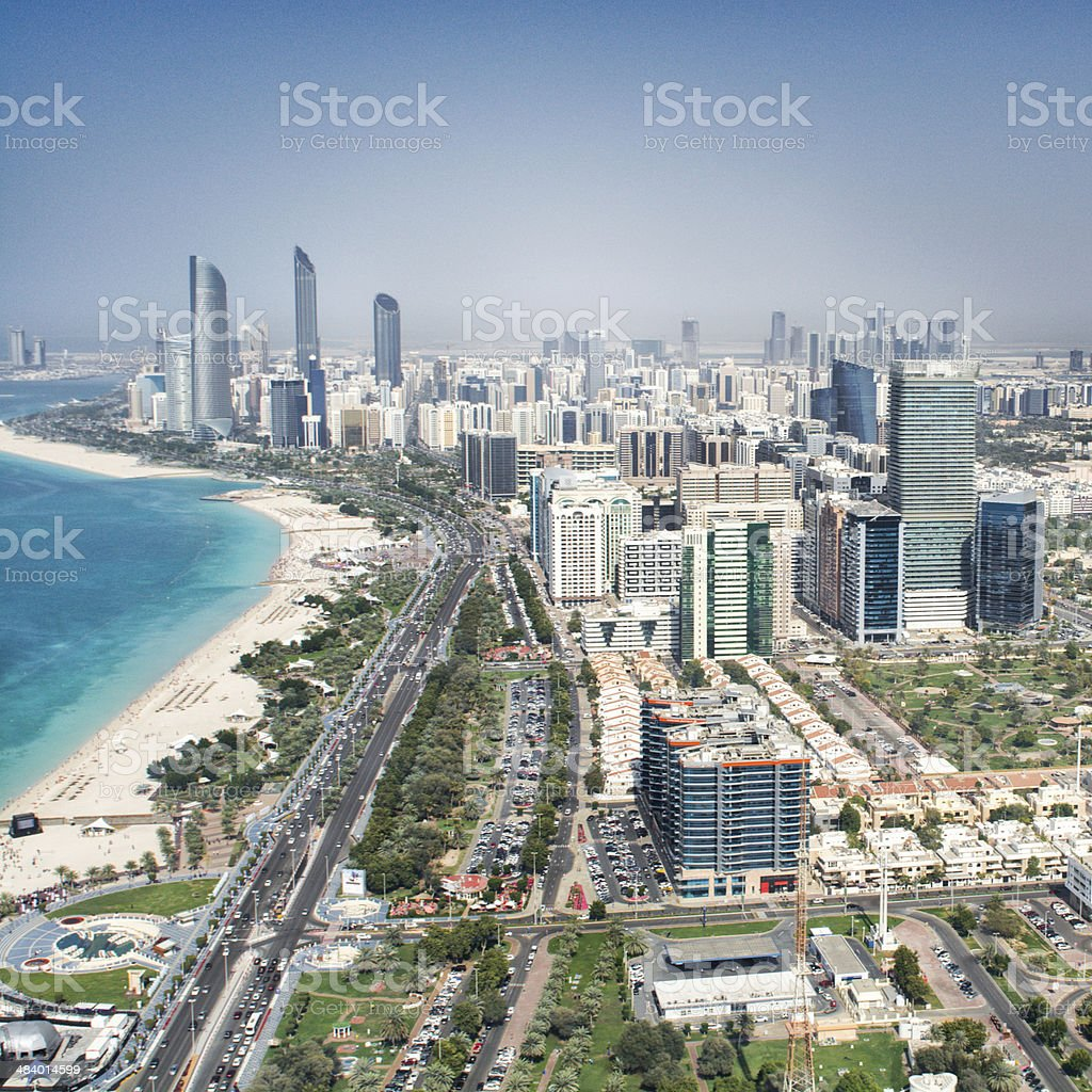 Abu Dhabi from the sky stock photo